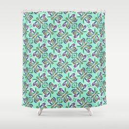 Field of Aqua Turquoise  Butterflies , Purple Wings Patterns in Geometric Formation with Flowers Shower Curtain