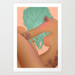 nude portrait of tattooed girl with blue hair Art Print