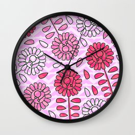 Soft pink flowers Wall Clock