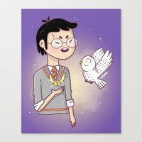 hedwig Canvas Prints featuring Magical friends by HypersVE
