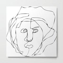 Blind contour portrait Metal Print