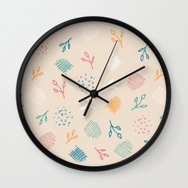 Contemporary Abstract Foliage Pattern #1 - Beige, Coral, Teal, Marigold, Jade & White Wall Clock