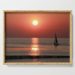 Sailing in Sunset Serving Tray