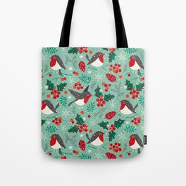 Christmas birds in snow Tote Bag
