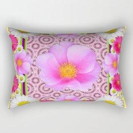 Floral Abundance yellow color fuchsia Shasta Daisy Pink Roses Abstract Ar Rectangular Pillow