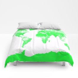 woRld Map Bright Green & White Comforters