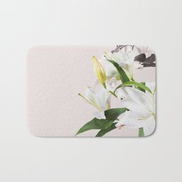 Tropical White Flowers #society6 #decor #buyart Bath Mat