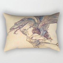 """""""The Dragon Caught the Queen"""" by Arthur Rackham Rectangular Pillow"""