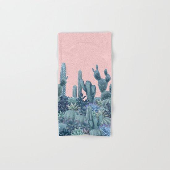 Milagritos Cacti on Rose Quartz Background Hand & Bath Towel