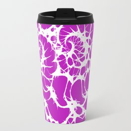 Modern abstract neon pink white fractal pattern Travel Mug