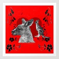 kangaroo Art Prints featuring Kangaroo by SwanniePhotoArt