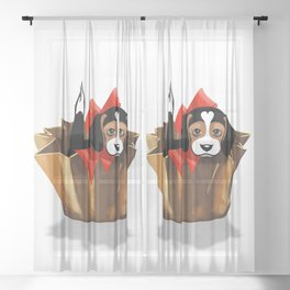 The Love Puppy — Chocolate Candy Sheer Curtain