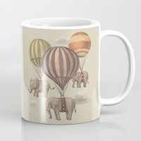 cabin pressure Mugs featuring Flight of the Elephants  by Terry Fan