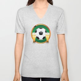 Two beer glasses and soccer ball in green circle Unisex V-Neck