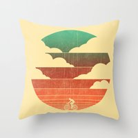 cycling Throw Pillows featuring Go West (cycling edition) by Picomodi