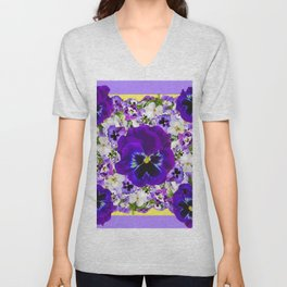 PURPLE PANSIES GARDEN LILAC ART Unisex V-Neck