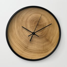 Unfinished natural light brown wood tree with circle growth rings pattern Wall Clock