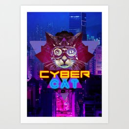 Cyber Cat 2077 game Art Print