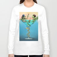 martini Long Sleeve T-shirts featuring Frog Martini by Dino Turull