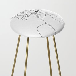 Minimal Line Art Woman with Flowers Counter Stool