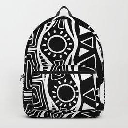 Four Waves - Freestyle Tribal Doodle Design - Black Backpack