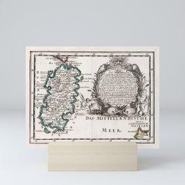 Vintage Sardinia Italy Map (1716) Mini Art Print