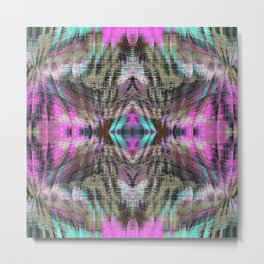geometric symmetry pattern abstract background in pink blue brown Metal Print