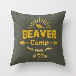 Beaver Camp: Dam Good Time Throw Pillow