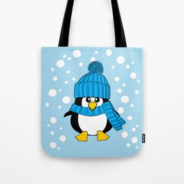 Cute Baby Penguin with Blue Hat Tote Bag