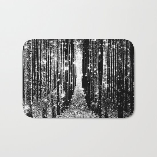 Magical Forest Black White Gray Bath Mat