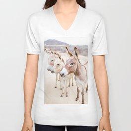 Three Donkeys in Baja, Mexico Unisex V-Neck