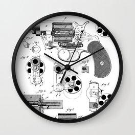 Colt Revolver Patent - Colt Firearm Art - Black And White Wall Clock