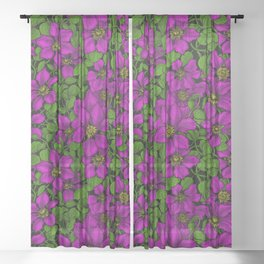 Pink Clematis vine Sheer Curtain