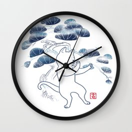 Tai Chi Cat 04 Wall Clock