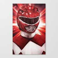 power ranger Canvas Prints featuring Red Power Ranger by SachsIllustration