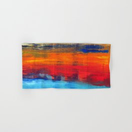 Horizon Blue Orange Red Abstract Art Hand & Bath Towel