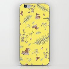yellow corgi holidays and twigs iPhone & iPod Skin