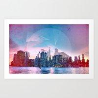manhattan Art Prints featuring Manhattan by Esco