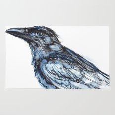 Crow with Blue Rug