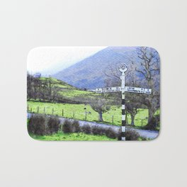 The Sign on the Road to Buttermere, Lake District, UK Watercolour Bath Mat
