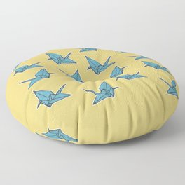 PAPER CRANES BABY BLUE AND YELLOW Floor Pillow
