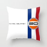 steve mcqueen Throw Pillows featuring MICHAEL DELANEY  aka Steve McQueen - LeMans Livery by Michele Leonello