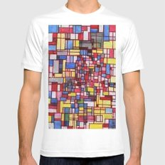 COMPOSITION IN RED Mens Fitted Tee White MEDIUM