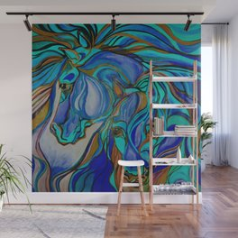 Wild Horses In Brown and Teal Wall Mural