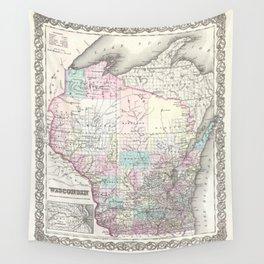 Vintage map of Wisconsin from 1855 Wall Tapestry