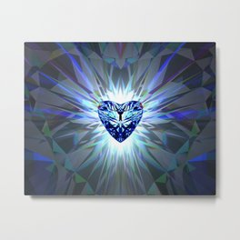 Heart Crystal Refraction - Blue Metal Print