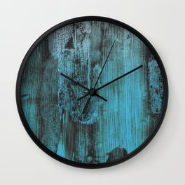 Industrial Urban Exquisite Turquoise Blue Reclaimed Wood Wall Clock