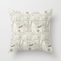 shopping Throw Pillows featuring Paris Shopping by RED ROAD STUDIO