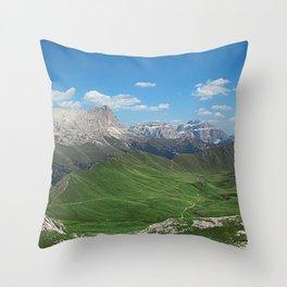 Green Mountain Valley Alpine Landscape Throw Pillow