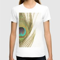 peacock feather T-shirts featuring Peacock Feather by Kimberly Blok